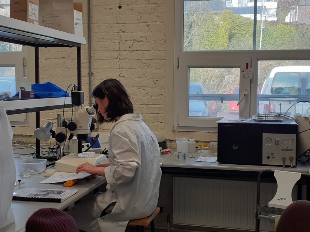 Image shows a female undergraduate student in the plankton lab looking down the stereoscope and making notes in her notebook. She is wearing a white lab coat.