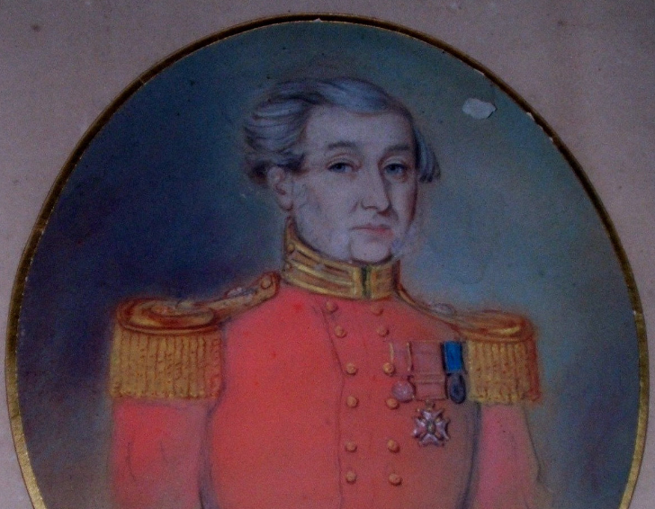 Image shows a portrait of John Vaughan Thompson. He is depicted wearing a red Navy Uniform and grey hair.