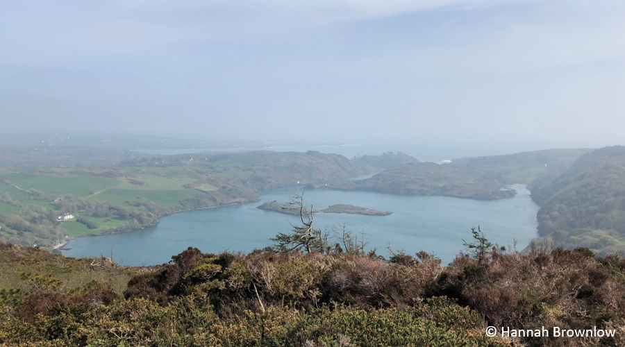 The image shows a view of Lough Hyne marine reserve from the hill behind the North basin. Castle island in the centre of the lough is visible. The lough is connected to the sea in the background by narrow rapids.